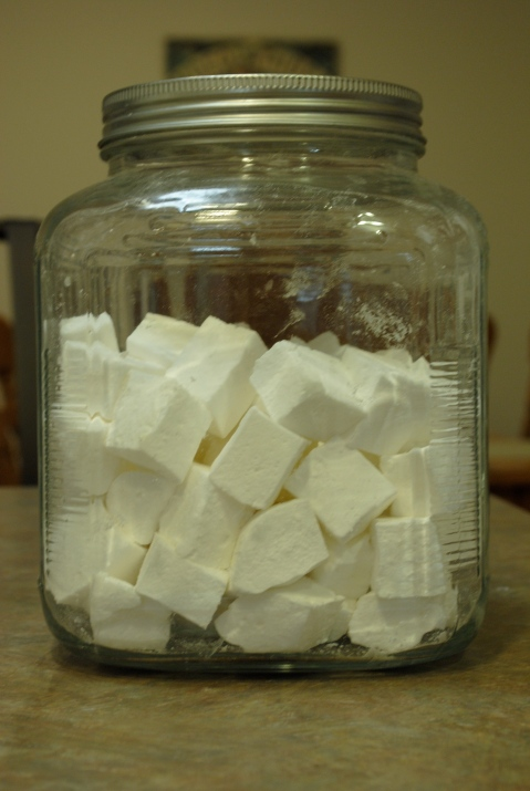 Homemade marshmallows ready to eat
