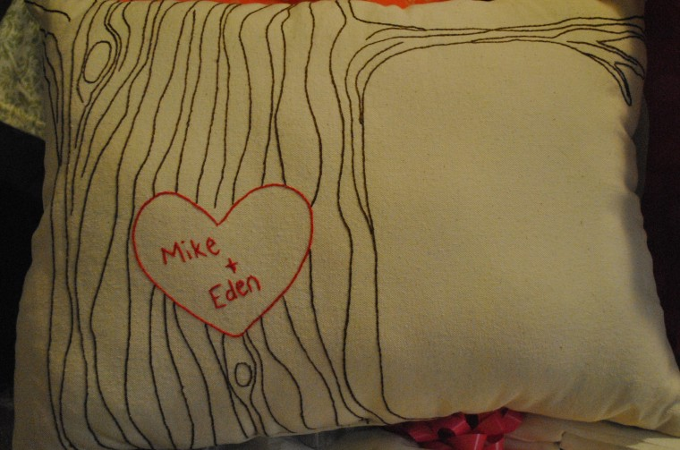 embroidered tree accent pillow