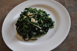 Dandelion Greens Garlic and chili flakes
